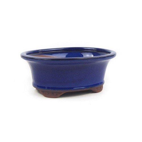 Tiesto ovalado color azul esmaltado 21x16x8 cm