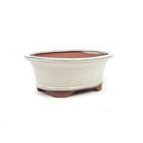 Tiesto ovalado color crema esmaltado 21x16x8 cm