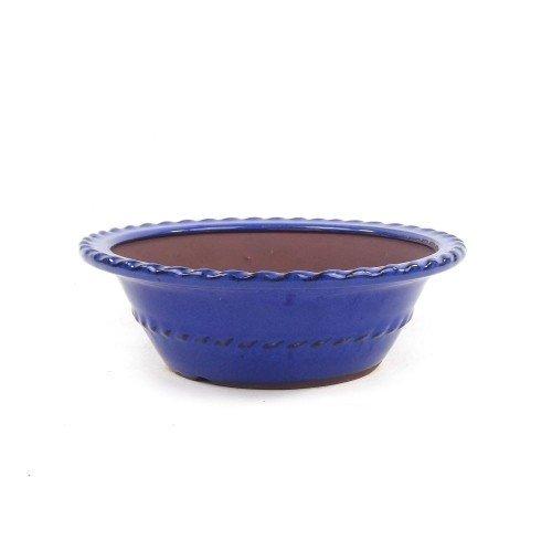 Tiesto redondo color azul esmaltado 20x6,5 cm