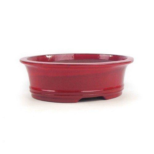 Tiesto YIXING ovalado rojo esmaltado 24x19x7,5 cm