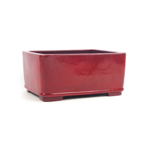 Tiesto YIXING rectangular rojo esmaltado 23,5x18x10,5 cm