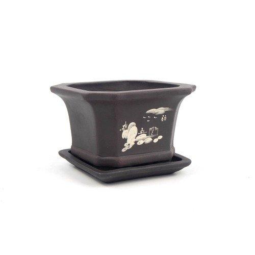 Tiesto semicascada cuadrado negro con plato 14,5x14,5x9,5 cm