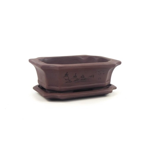 Tiesto rectangular marrón con plato sin esmaltar 17x12,5x5,5 cm