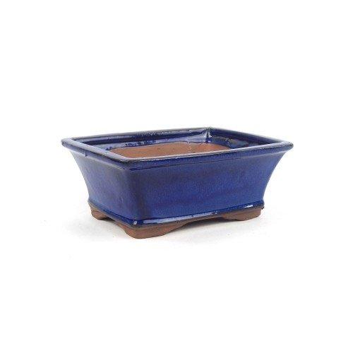 Tiesto rectangular color azul esmaltado 18x14x7 cm