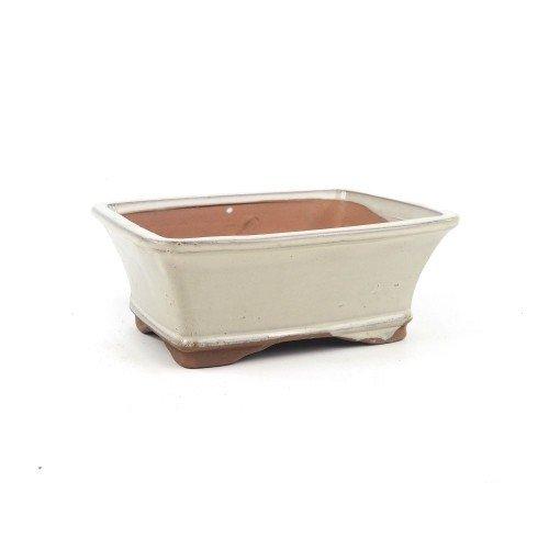 Tiesto rectangular color crema esmaltado 18x14x7 cm