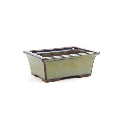 Tiesto YOKKAICHI rectangular verde esmaltado 13,5x10,5x5.5 cm