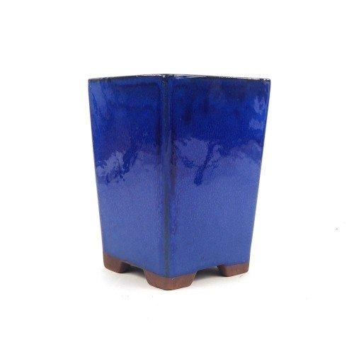 Tiesto cascada color azul esmaltado 13,5x13,5x18,5 cm