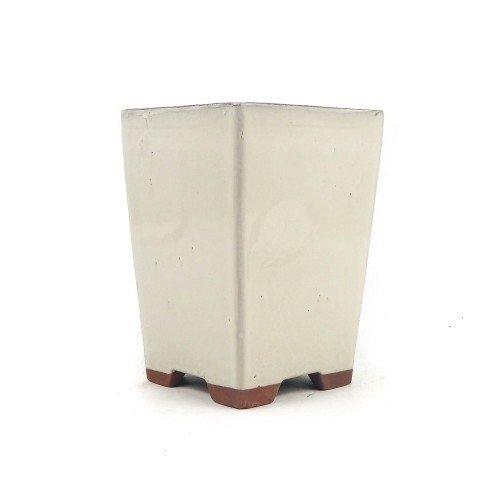 Tiesto cascada color crema esmaltado 13,5x13,5x18,5 cm