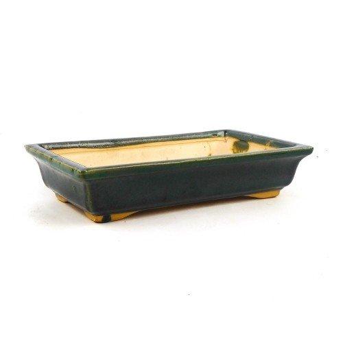 Tiesto rectangular color verde esmaltado 24x14x5 cm