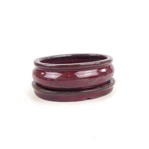 Tiesto ovalado granate con plato esmaltado 15x12x5 cm