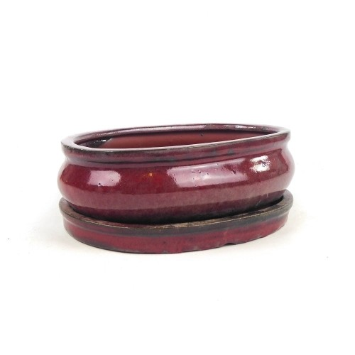 Tiesto ovalado granate con plato esmaltado 21x14x6 cm