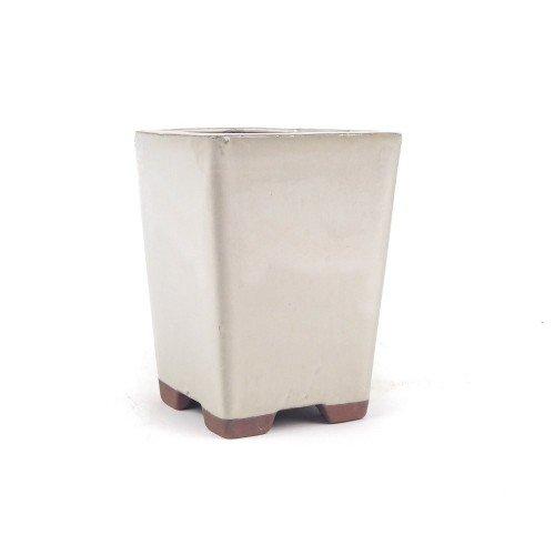 Tiesto cascada color crema esmaltado 10,5x10,5x14,5 cm