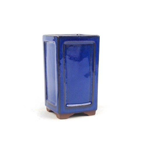 Tiesto cascada color azul esmaltado 8x8x14 cm