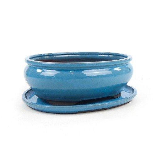 Tiesto ovalado azul esmaltado con plato 25x20x7,5 cm