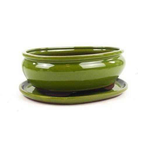 Tiesto ovalado verde esmaltado con plato 25x20x7,5 cm