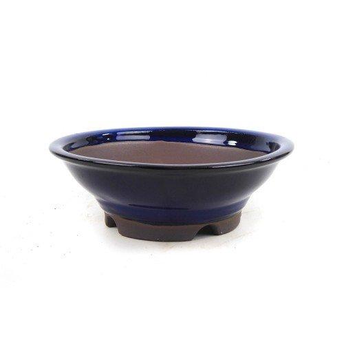Tiesto YOKKAICHI redondo azul esmaltado 22x7 cm