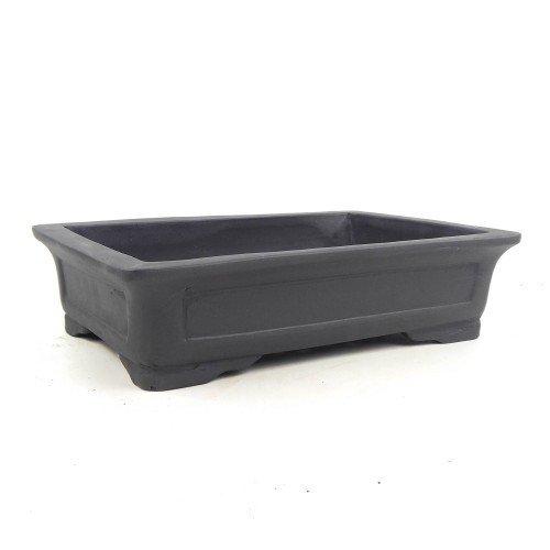 Tiesto rectangular yixing negro sin esmaltar 29,5x21x7,5 cm