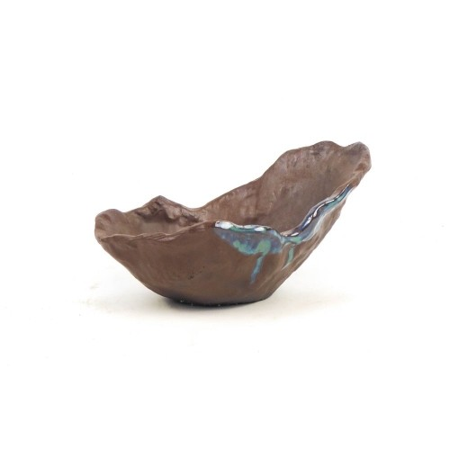 Tiesto kusamono japonés marrón mancha verde 19,5x13,5x11 cm