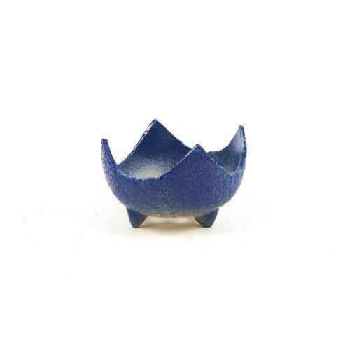Tiesto kusamono japonés color azul con patas 10,5x10x6,5 cm