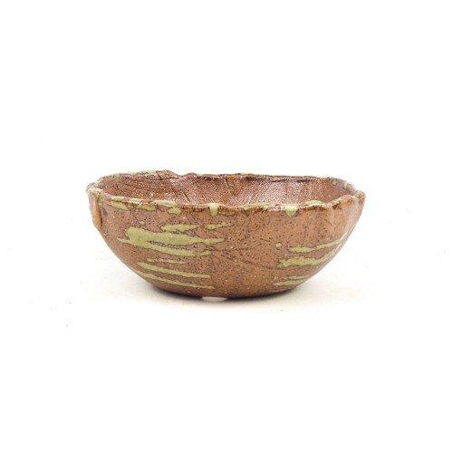 Tiesto kusamono japonés color ocre manchas verdes 15x14x5 cm