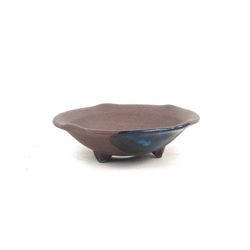 Tiesto kusamono japonés color marrón mancha azul 15x15x4,5 cm