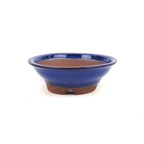 Tiesto YOKKAICHI redondo azul esmaltado 17x5,5 cm