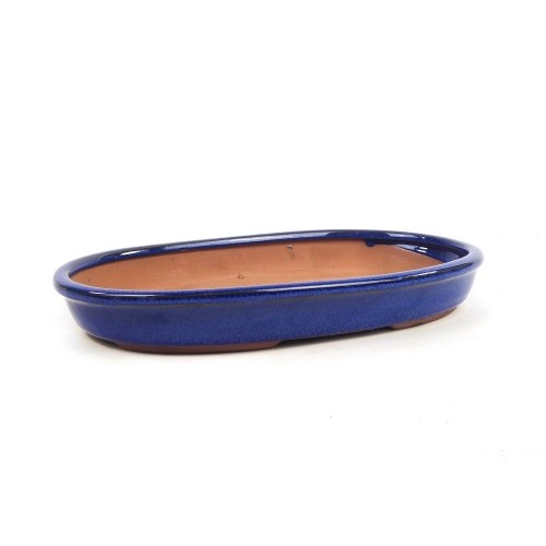 Tiesto ovalado color azul esmaltado 26x17,5x3,5 cm