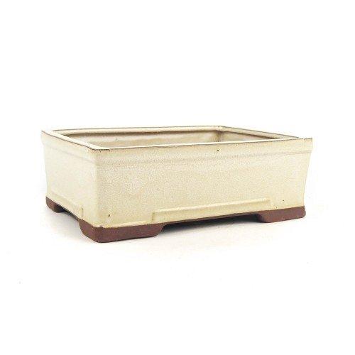 Tiesto rectangular color crema esmaltado 26,5x19x8,5 cm