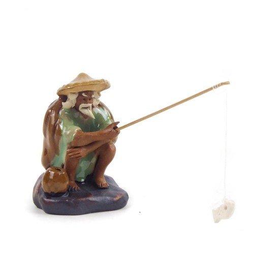 Figura pescador 2 de cerámica china selección PLENITUD 7 cm