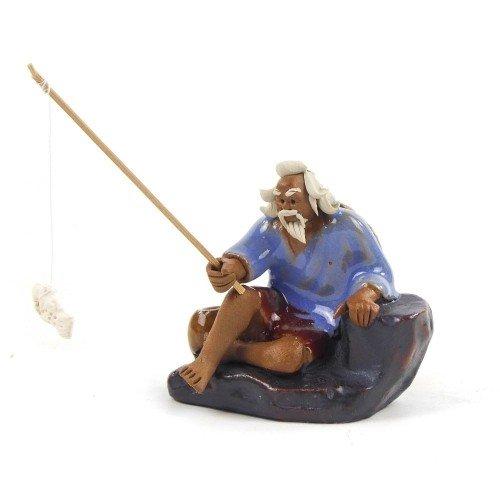 Figura pescador 3 de cerámica china selección PLENITUD 7 cm