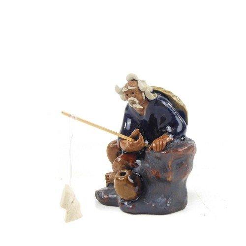 Figura pescador 6 de cerámica china selección PLENITUD 7 cm