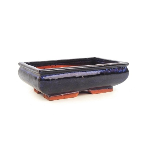Tiesto rectangular esmaltado color azul 23,5x14,5x7 cm