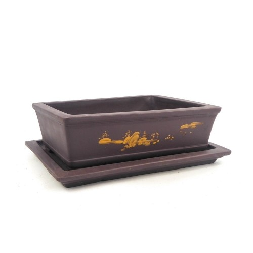 Tiesto rectangular marrón con plato sin esmaltar 25x18x7,5 cm