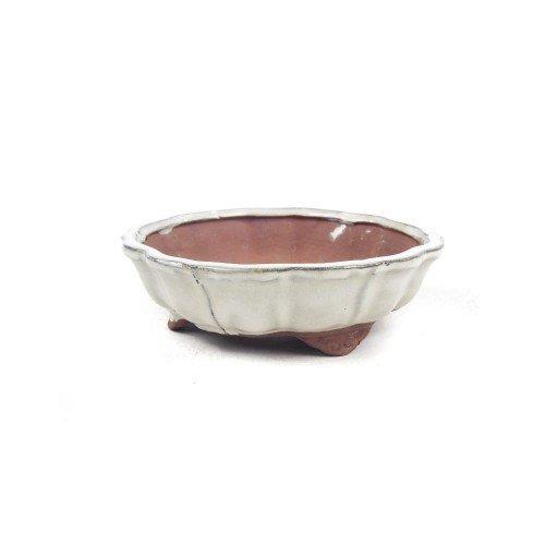 Tiesto redondo flor color crema esmaltado 14x14x4,5 cm
