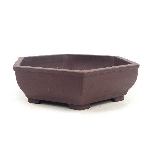 Tiesto YIXING hexagonal marrón sin esmaltar 29,5x26x7,5 cm