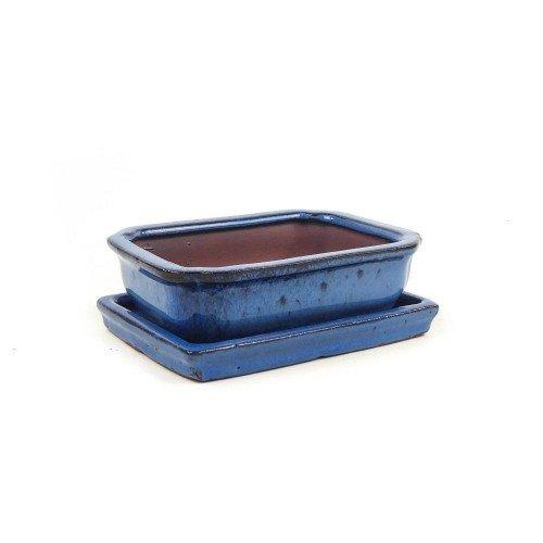 Tiesto rectangular con plato azul esmaltado 15x11,5x4,5 cm