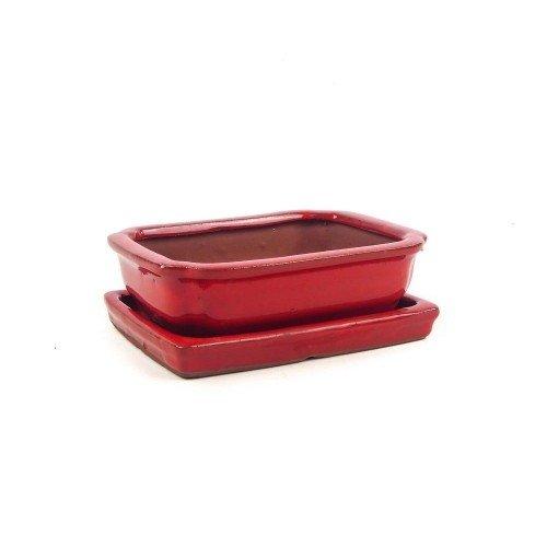 Tiesto rectangular con plato rojo esmaltado 15x11,5x4,5 cm