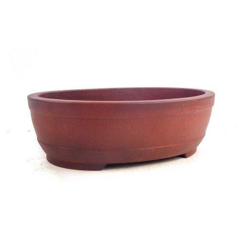 Tiesto YIXING ovalado marrón sin esmaltar 30x22,5x9 cm