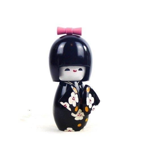 Figura KOKESHI de madera en kimono color negro 11 cm