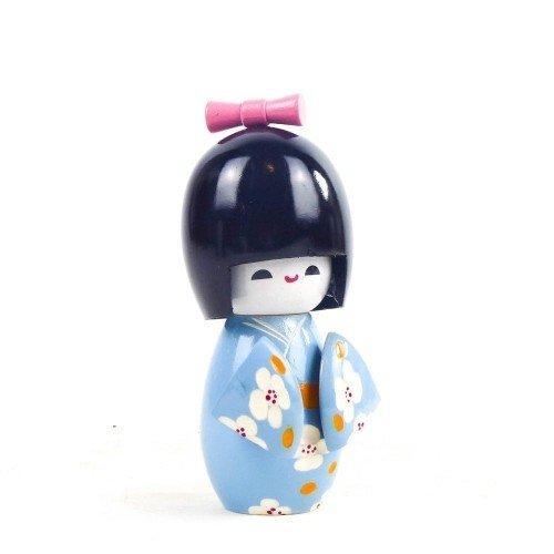 Figura KOKESHI de madera en kimono color azul 11 cm