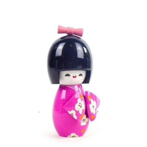 Figura KOKESHI de madera en kimono color rosa 11 cm