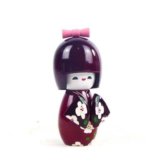 Figura KOKESHI de madera en kimono color morado 11 cm
