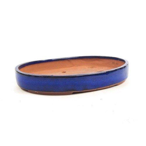 Tiesto ovalado color azul esmaltado 34x24x4 cm