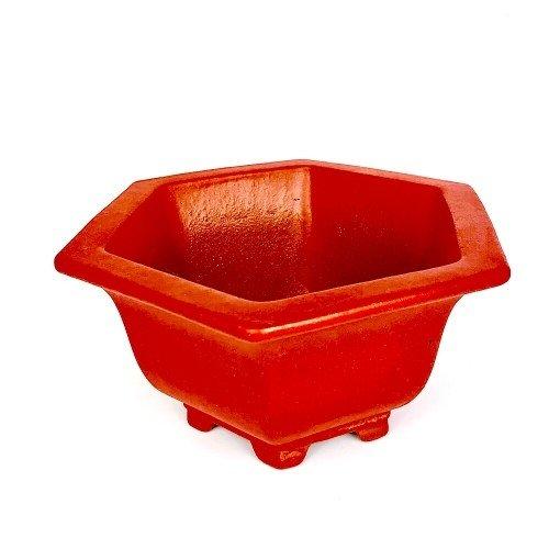 Tiesto YIXING semicascada hexagonal rojo mate esmaltada...
