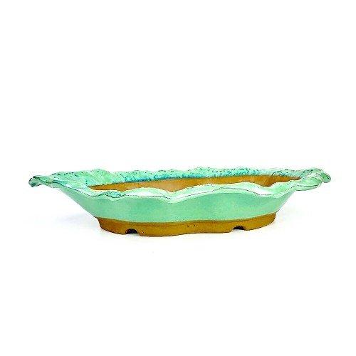 Tiesto YOKKAICHI paisaje color verde esmaltado 35x23x6.5 cm
