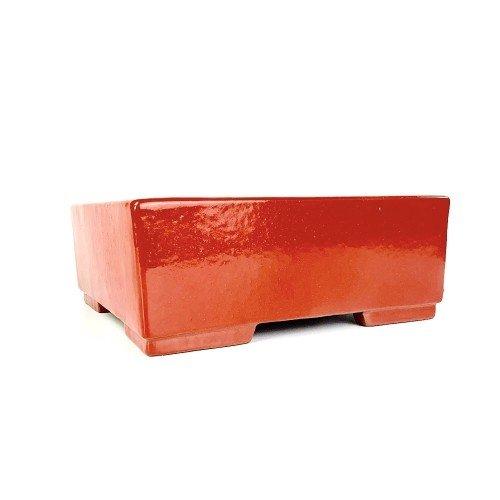Tiesto YIXING cuadrado rojo esmaltado 25x25x10 cm