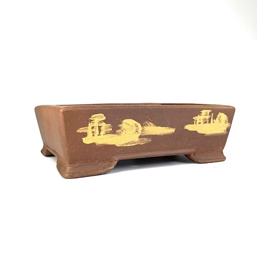 Tiesto YIXING rectangular marrón sin esmaltar 20x15x6 cm