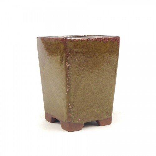 Tiesto cascada color óxido esmaltado 13,5x13,5x18,5 cm