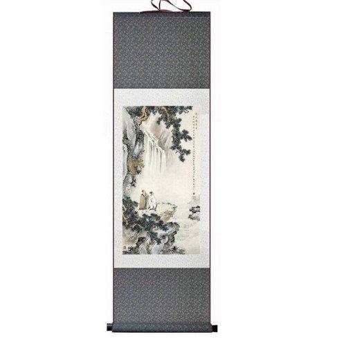 Pintura tradicional china, kakemono en color verde grisáceo...