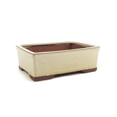Tiesto rectangular color crema esmaltado 18x13.5x7 cm